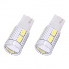 T10 5W 240lm 10 x SMD 5630 LED White Light Car Turn Signal Corner Lamp w/ Lens - (DC 12V / 2 PCS)