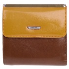 4459 Retro Head layer Cowhide Folding Unisex Wallet - Yellow + Brown