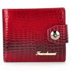 4355-A Stylish Head Layer Cowhide Alligator Style Folding Unisex Wallet - Crimson