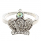 Noble Crown Rhinestone Style Ring for Women - Silver (UK Size 18)