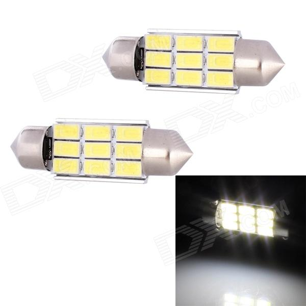 Festoon 36mm 4.5W 216lm 9 x SMD 5630 LED de luz blanca Decodificación de coches de la lámpara de lectura - (12V / 2 PCS)