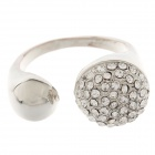 Fashionable Double Ball Style Ring w/ Rhinestone for Women - Silver (UK Size 23)