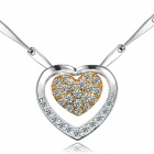 eQute PSIW5COOT1 Elegant Sweet Heart to Heart + Czech Diamond Pendant Women's Necklace - Silver