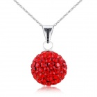 eQute PSIW119C4 925 Sterling Silver Full Austria Crystal Lucky Ball Pendant Women's Necklace - Red
