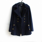 Double-breasted Lapel Long Woolen Slim Fit Coat - Navy Blue(Size L)