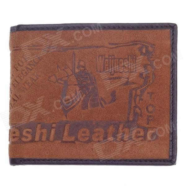 WEIJUESHI 238-1# Knight and Horse Pattern Vogue PU Leather Folding Men's Wallet - Coffee
