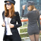 E-LOVE 2013 New Korean Fashion Medium Style OL Slim Fit Blazer PU Leather Coat - Black (Size-S)