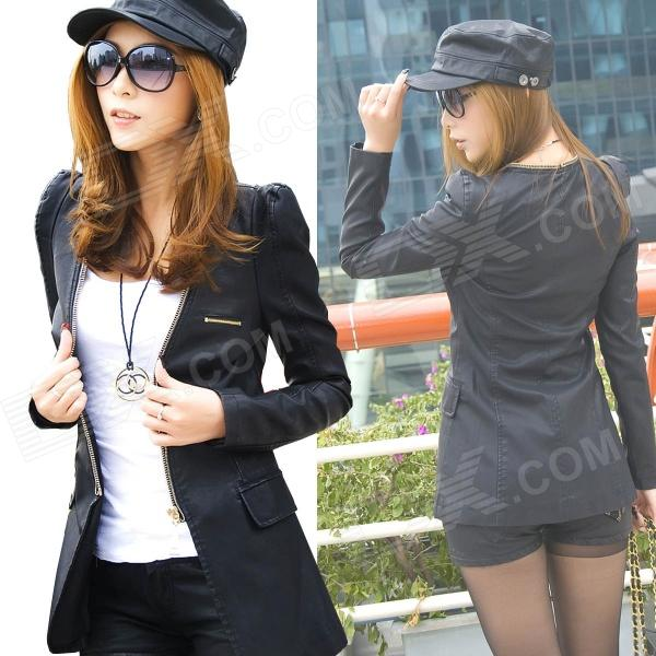 E-LOVE 2013 New Korean Fashion Medium Style OL Slim Fit Blazer PU Leather Coat - Black (Size-M)