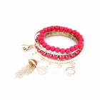 Korean Fashionable All-Match Multilayer Pearl Bracelet - Rose Gold + Deep Pink