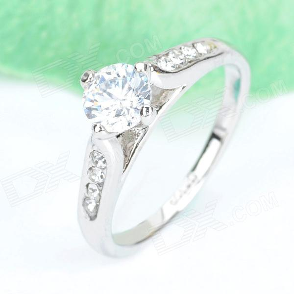 KCCHSTAR 18K Gold Plating High-Quality Carat Ring w/ Artificial Diamond - Silver (US Size-8)