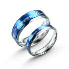 "eQute COO18C1S69 Titanium Steel ""Forever Love"" Couple's Rings - Blue + Silver (Women 6 / Men 9)"