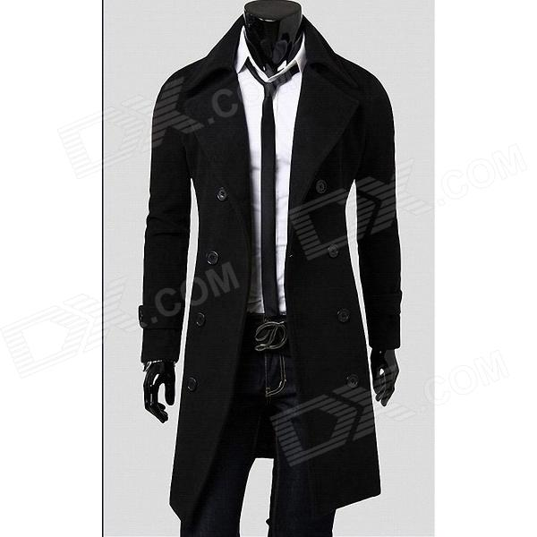 Fashionable Double-Breasted Trench Mens Coat - Black (Size-XL) - DXJackets &amp; Coats<br>Brand N/A Quantity 1 Color Black Material Woolen Gender Men Suitable for Adults Style Fashion Size XL Shoulder Width 45 cm Chest Girth 106 cm Sleeve Length 63 cm Total Length 68 cm Suitable for Height 180~185 cm Packing List 1 x Coat<br>