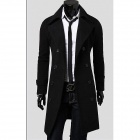 Fashionable Double-Breasted Trench Men's Coat - Black (Size-XL)