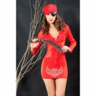 Dear Lover 8582 Captain Booty Pirate Costume Set - Red (Free Size)