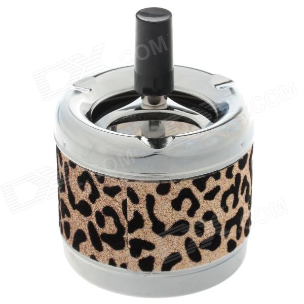 Creative Zinc Alloy Leopard Pattern Press Rotary Ashtray - Silver + Black + Golden fashionable dice style shiny crystal decorated zinc alloy ashtray silver