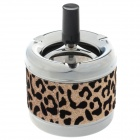 Creative Zinc Alloy Leopard Pattern Press Rotary Ashtray - Silver + Black + Golden