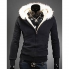 Fur Collar Design Men's Hooded Fleece - Black (Size-XL)