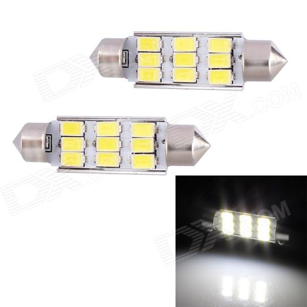 Festoon 42mm 4.5W 216lm 9 x SMD 5630 LED White Light Decoding Car Dome Reading Lamp - (12V / 2 PCS) jrled g4 3w 300lm 9 x smd 5630 led white light car reading lamp ac dc 12v