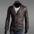 Men's Slim Fit Inclined Zipper PU Leather Men's Coat - Brown (Size-XL)