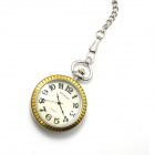 ZY-039 Retro Fashionable Zinc Alloy Quartz Analog Pocket Watch - Silver + Golden (1 x 377S)