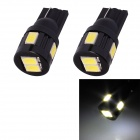 T10 3W 144lm 6 x SMD 5630 LED White Light Car Turn Signal Corner Parking Lamp - (DC 12V / 2 PCS)