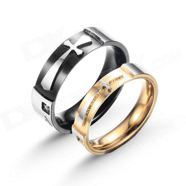 eQute COO18C4S69 Titanium Steel Cross Love Couple's Ring - Black + Golden + Silver (Women 6 / Men 9) kcchstar the eye of god high quality 316 titanium steel necklaces golden blue