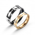 eQute COO18C4S69 Titanium Steel Cross Love Couple's Ring - Black + Golden + Silver (Women 6 / Men 9)