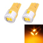 T10 3W 180lm 6 x SMD 5630 LED Golden Light Car Turn Signal Corner Parking Lamp - (DC 12V / 2 PCS)