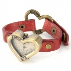 Stylish Heart Shape Cow Split Leather Band Analog Quartz Wrist Watch - Red + Bronze (1 x SR626)