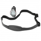 Sport Cycling ABS Rubber Band Quartz Digital Wrist Watch w/ Heart Rate Measuring Chest Belt - Black