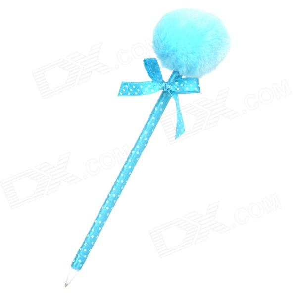 Cute Plush Bow Ball Point Pen - Blue