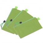 Water-proof Football Texture Zipper Style B6 Document File Pocket  - Green (3 PCS)