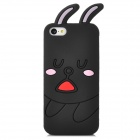 Sleepy Rabbit Style Protective Silicone Back Case for iPhone 5c - Black + Pink