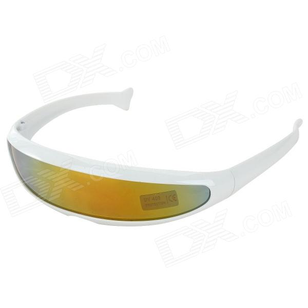 Stylish Fishtail Style UV400 Protection Cycling Sunglasses - White