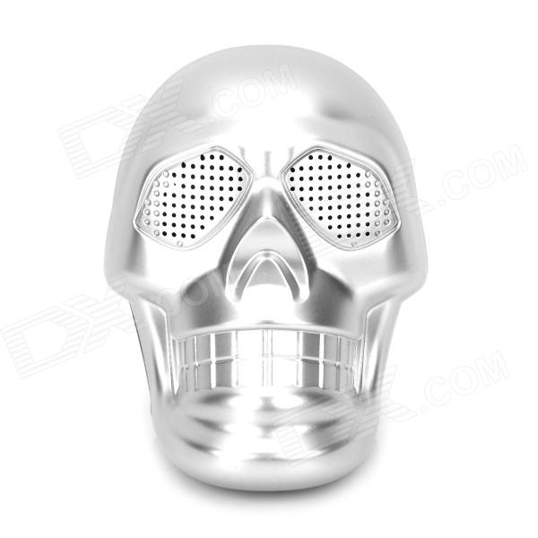 Skull Style Mini 3W Stereo Speaker w/ USB / TF / FM / 3.5mm for Laptops / MP3 + More - Silvery White aj 81 wireless bluetooth v2 1 mp3 speaker w tf fm micro usb for iphone more black white