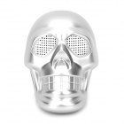 Skull Style Mini 3W Stereo Speaker w/ USB / TF / FM / 3.5mm for Laptops / MP3 + More - Silvery White