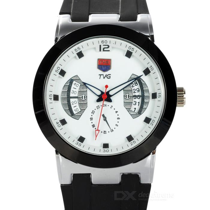 TVG KM478 Waterproof Zinc Alloy Silicone Band Quartz Analog Wrist Watch for Men - White + Black polly ho stylish silicone band zinc alloy case men s quartz analog wrist watch black 1 x 377