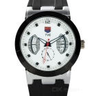 TVG KM478 Waterproof Zinc Alloy Silicone Band Quartz Analog Wrist Watch for Men - White + Black