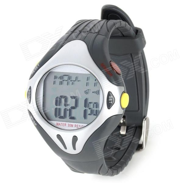 Pulse Heart Rate Monitor Calories Counter Digital Wrist Watch - Grey + Silver (1 x CR2032) d007 pulse heart rate monitor calories counter fitness digital watch black silver 1 x cr2032