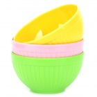 H2WY Cute Environmental Colorful High Polyethylene Plastic Bowl - Green + Pink + Yellow (3 PCS)
