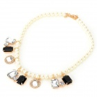 SHIYING a04212 Stylish Venetian Pearl + Acrylic Women's Necklace - White + Black