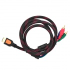Universal HDMI Male to 3-RCA Male Component AV Adapter Cable - Black + Red (150cm)