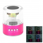 Mini Portable 3W MP3 Stereo Speaker w/ FM / TF / USB / 3.5mm - Transparent + Deep Pink + Black
