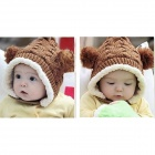 Elf Style Fashion Wool Hat w/ Two Balls for Kid - Camel + White