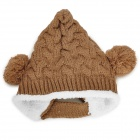 Elf Style Fashion Wool Hat w / Dos Bolas para niño - Camel + White