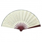 Blooming Flower Pattern and Surnames Style 10.7'' Chinese Folding Art Fan - Brown + Yellowish