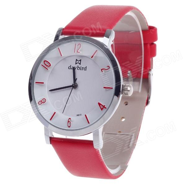 Daybird 3802 PU Leather Quartz Women's Wrist Watch - Red + Silver + White (1 x LR626) daybird 3802 pu leather band quartz analog women s wrist watch black golden white 1 x lr626