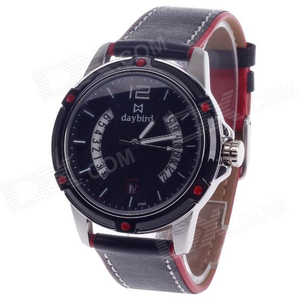 Daybird 3785 Quartz Unisex Wrist Watch w/ Hollow Calendar - Black + Red + White (1 x LR626) daybird 3791 ceramic band quartz women s wrist watch w rhinestone black rose gold 1 x lr626