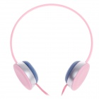 Stylish Stereo Headphones w/ Mic - Pink + Silver + Blue