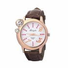 Round Diamond Fashionable Ladies Quartz Wristwatch - Coffee(1x377)